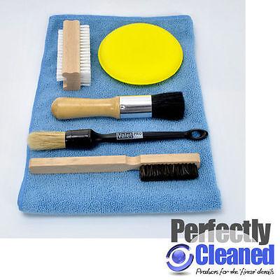 Interior Detailing Brush Set, 4 brushes, 1 applicator pad and 1 microfibre