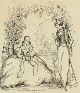 Harold Hope Read (1881-1959) - Pen and Ink Drawing, Sharing Biscuits