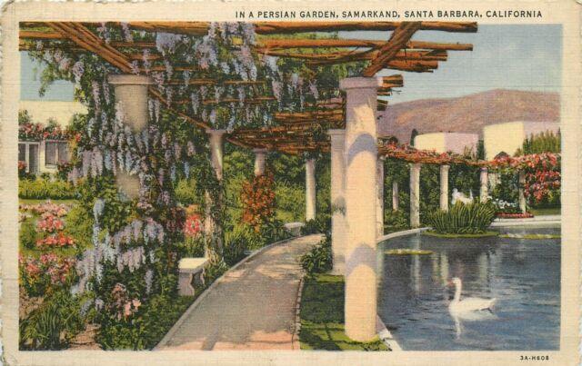 Linen Postcard CA G618 Scalloped Edges Persian Garden Samarkand Santa Barbara