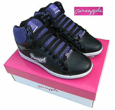 Pineapple Girls High Top Boot/High Tops Trainers Black/Purple UK1-UK5 Euro 33-38