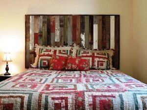 Image Is Loading Queen Size Bed Reclaimed Barn Wood Headboard Rustic