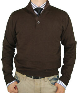 Suéter Algodón Codo Classic Natazzi Touch Fit Button Luciano Cashmere Mock Neck OU8Y0xqnR