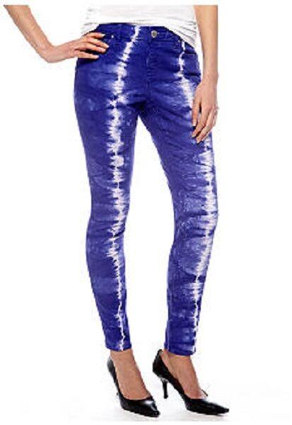 DKNY  Hippy Trail  Paradise Purple Skinny-Leg Tie-Dye Stretch Jeans - MSRP  90