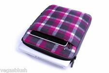 "Universal Laptop Sleeve Case 13"" Stuff Sleeve Wooly Plaid Pink Fits Apple iPads"