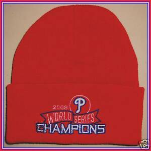 Image Is Loading Phillies 2008 World Series RED Winter Hat