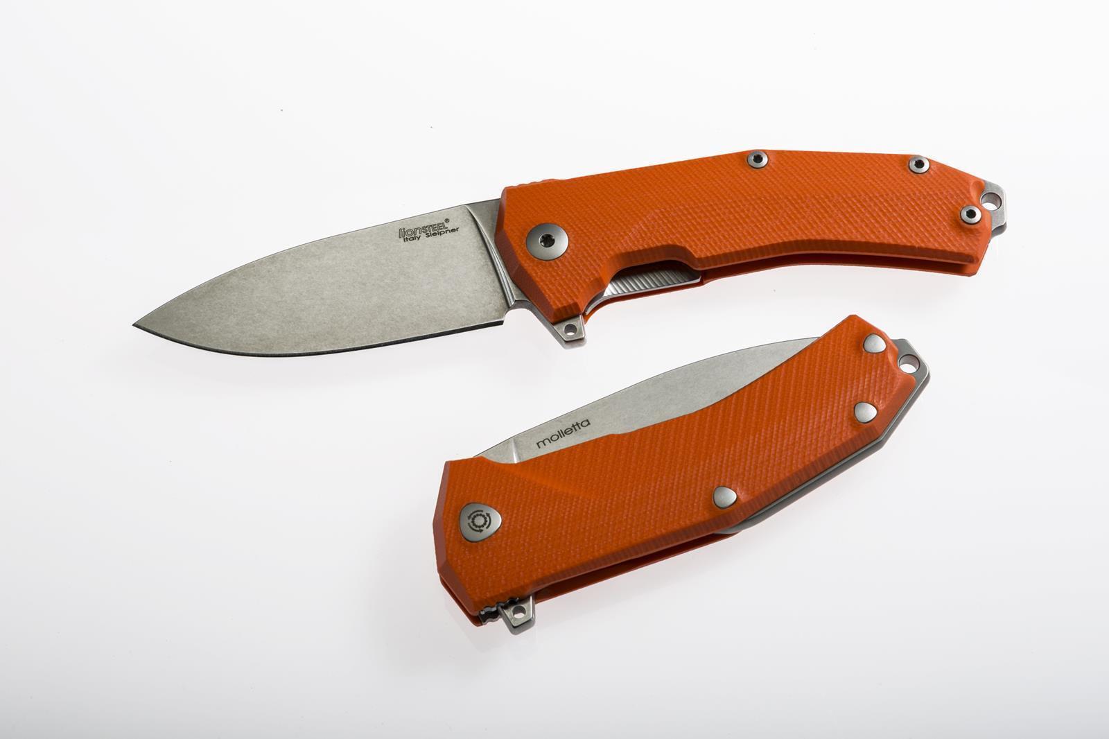 Messer LionSteel KUR Orange Sleipner Stahl G10 Kugellager Flipper KUROR
