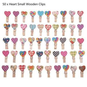 50PCS Wooden Clips Love Heart Clothes Pin DIY Cute Wedding Decor Craft Gift