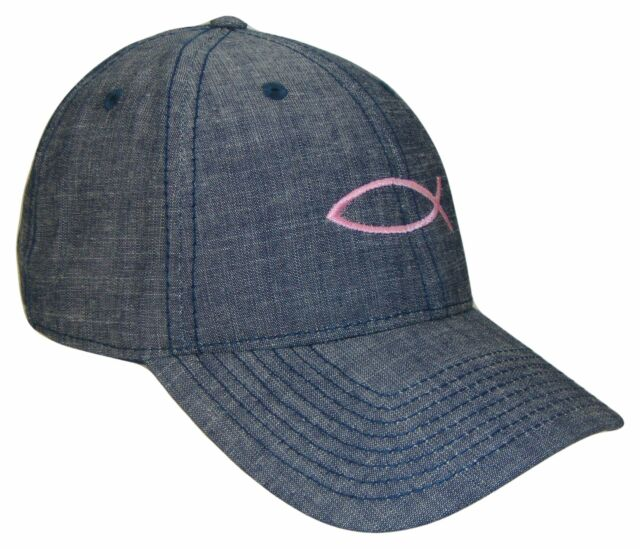 99581c9743afb Blue Jeans Denim   Pink Jesus Fish Baseball Cap Hat Caps Hats God Christ  Lord