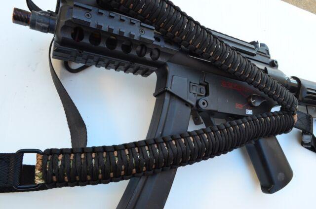 "Black // White 34/"" Tactical 550 Paracord Rifle Gun Sling Single Point Airsoft"