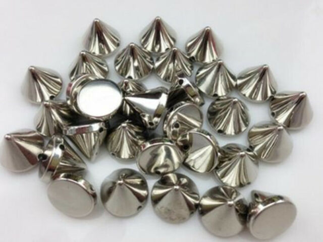DIY 30pcs 12mm silver plastic Bullet Spike Studs Rivet Punk Hand sewing thread