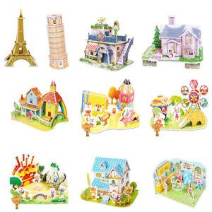Zb-Cartoon-Bau-Schloss-Puzzle-Montieren-Modell-Bildungs-Kinder-Spielzeug