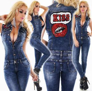 Tuta-jeans-overall-donna-blu-scuro-smanicata-skinny-bacio-kiss-paillettes-nuova
