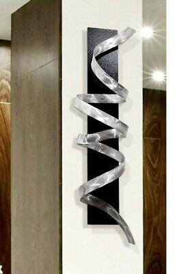 ULTRA MODERN! 3D Metal Wall Art Sculpture Silver Black ...