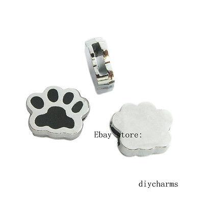 5pcs 8mm Dog Footprint Slide Charms Fit DIY Pet Name Collar Bracelet  SL0302
