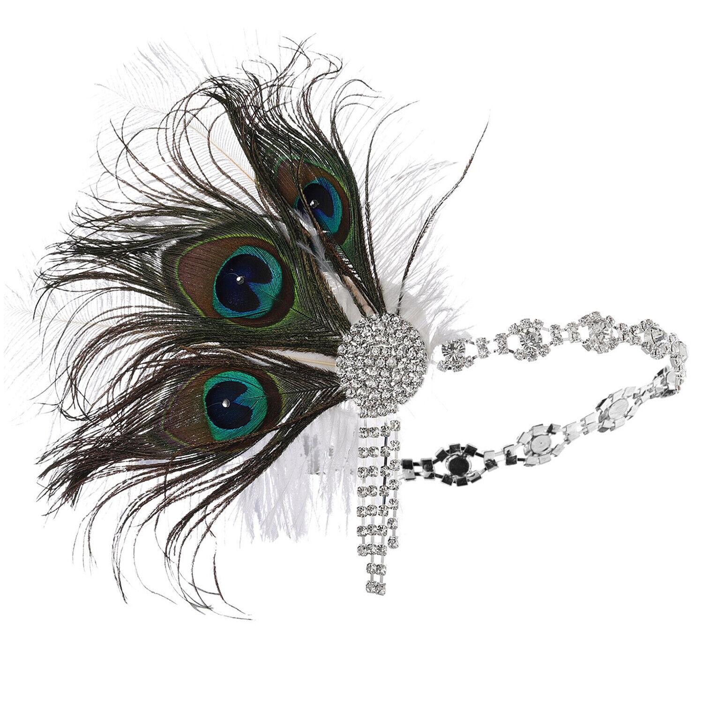 Dark Silver Grey Feather Headband 1920s Headdress Flapper Great Gatsby Vtg V14