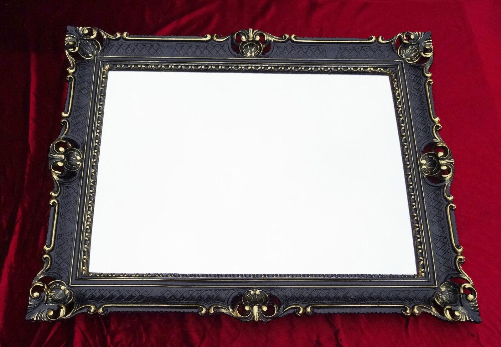 Wall mirror black gold antique baroque rococo 90x70 wall for Rectangular baroque mirror
