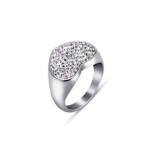 Silver Rings Ladies Jewellery Stainless Steel Chevalier Heart Shape