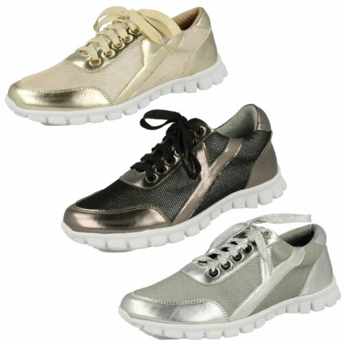Ladies Spot On Lace Up Trainers UK Sizes 3-8 F80102