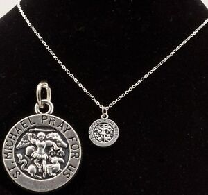 16-034-to-24-034-Silver-Plated-Mens-amp-Womens-St-Michael-Pendant-Unisex-Necklace-Chain