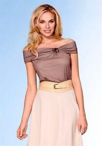 Damen-Edel-T-Shirt-Shirt-Top-Bluse-Carmen-Ausschnitt-mit-Schmuck-NEU-SALE-004