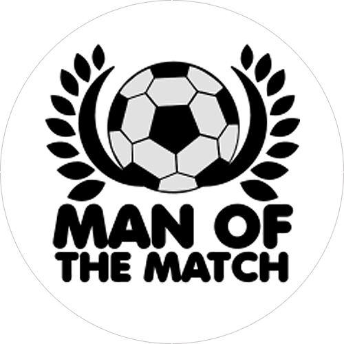 24x imprimé man of the match football trophée médaille insère plate ou bombée 25mm