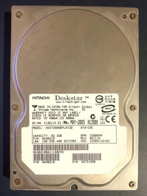 """HITACHI DESKSTAR HDS728080PLAT20 7200 RPM 3.5/"""" IDE PATA HARD DRIVE 82.3GB WORKS!"""