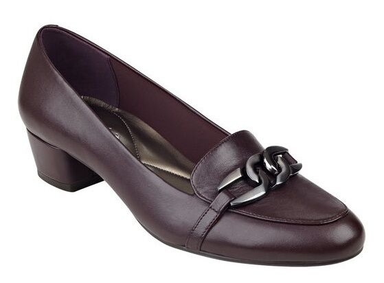 Easy Spirit Umandra loafer pump wine burgundy leather sz 9 WIDE New
