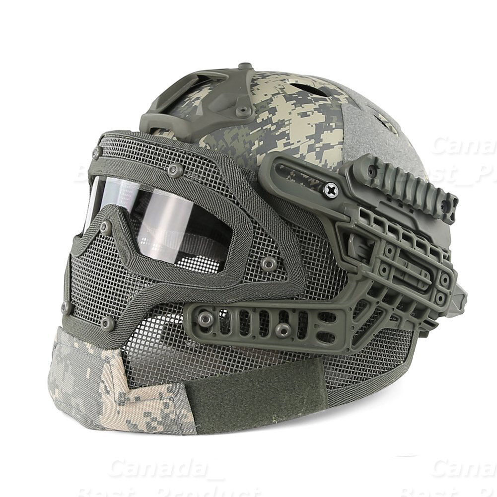 Tactical Prossoective Googles G4 System Full Face Mask Helmet Molle Paintball ACU