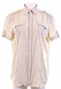 DIESEL-Womens-Shirt-Short-Sleeve-Size-16-Large-Brown-Striped-Cotton-ES18
