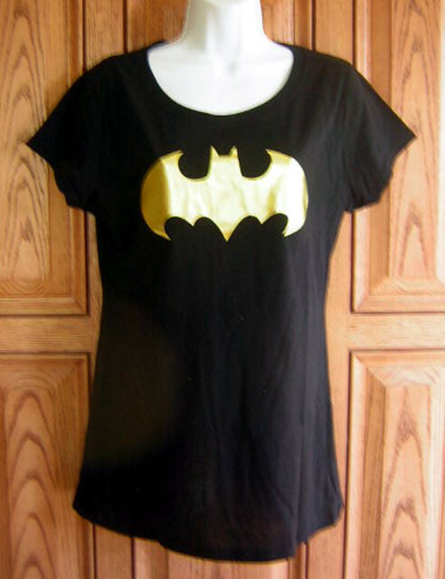 Batman DC Comics Gold Foil Logo Black T Shirt Top Womans Junior Licensed Box 17