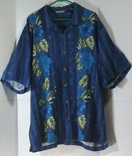 Tommy Bahama Men XXL Button Down Blue Hawaii 100% Silk Shirt Short Sleeves