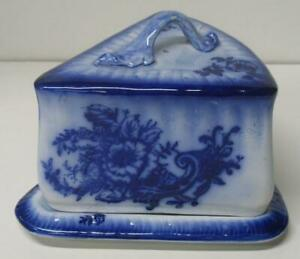 Antique-Flow-Blue-large-Covered-Cheese-Dish-Wedge-Shape-Floral-Server-Holder