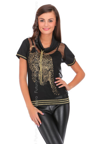Donna nero maglia superiore Cappuccio Collo vedere attraverso T-shirt Blusa Taglie 8-14 fc2057