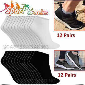 6-12-24-Pairs-Trainer-Liner-Ankle-Socks-Mens-Womens-Cotton-Rich-Sports-Socks-LOT