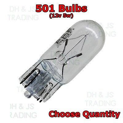 Autobulbs 10 X 501 Blue Capless Sidelight Car Bulb Bulbs Interior Number Plate Side Light 12V 5W