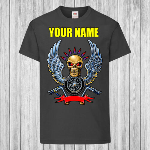Kids T-Shirt DTG Personalized with name Children Biker Skull with Wings