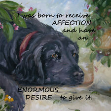 FLAT COATED RETRIEVER DOG NEW VERSE OIL PAINTING PRINT HARDBOARD PLAQUE TILE