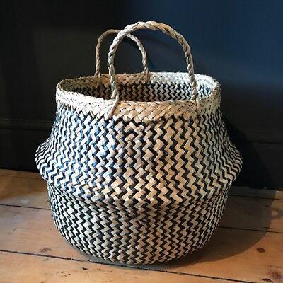 Blesiya 1pc Seagrass Belly Basket Storage Toys Laundry Planter Pot White S