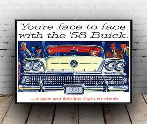 Wall art Buick 58 old motor car advertising Reproduction. Poster