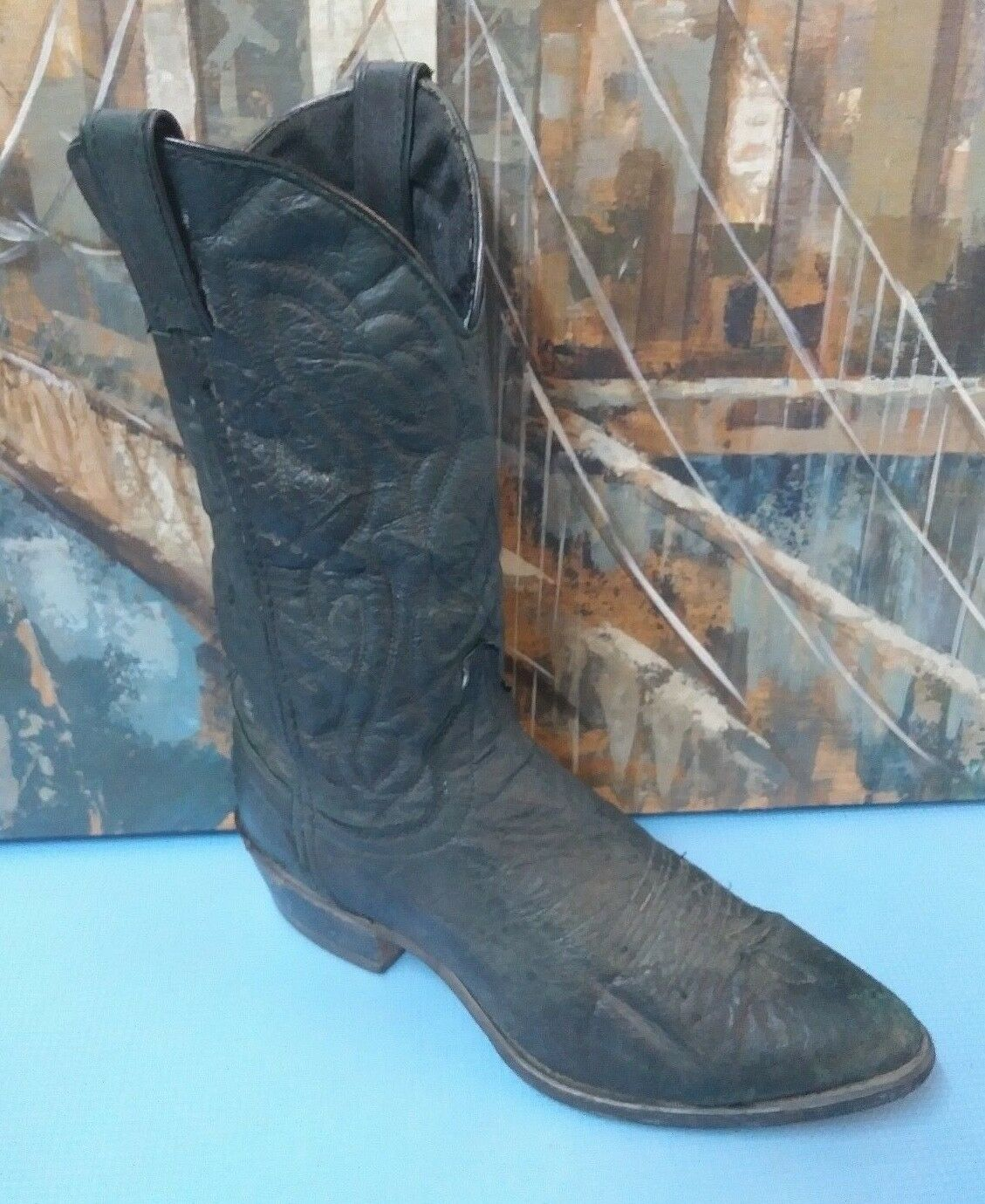 Mens  Black Western Cowboy Style 7640 Boots 8 EE  USA