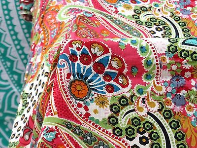Indian Natural Cotton Screen Print Fabric Jaipuri Ethnic Fabric 2.5 Yard 08