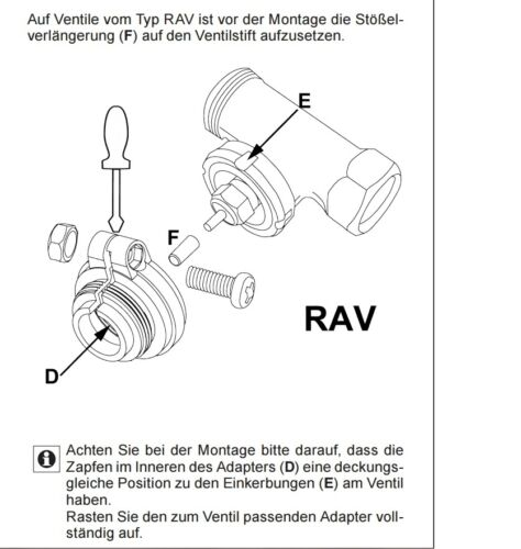 1 adattatori per Danfoss riscaldamento valvola Attacco Radiatori termostati RAV 34mm /> m30