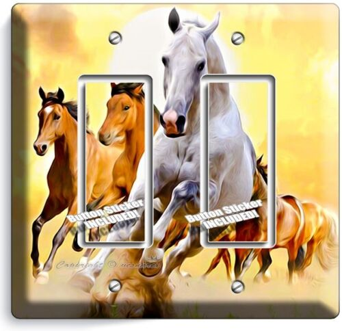 LIPIZZAN STALLION /& MUSTANG HORSES DOUBLE GFCI LIGHT SWITCH WALL PLATE ART COVER