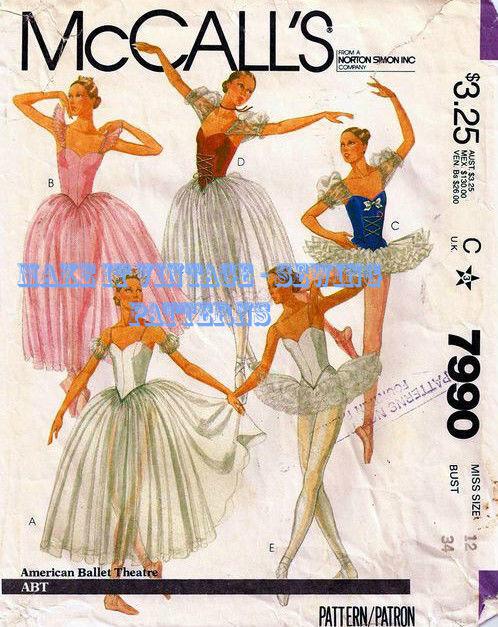 Vintage Mccalls 7990 Professional Ballet Tutu Dancewear Sewing