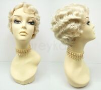 Blonde Finger Waves Wig Heat Resistant Short Marcel 1920s Vintage Gatsby Flapper
