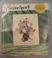Vintage Stitchery Crewel Embroidery Kit Vase Of Flowers By Valiant