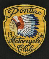 Pontiac Motorcycle Club 1956 Indian Chief Headdress Vintage Style Biker Patch