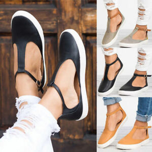 Womens-Summer-T-Strap-Pumps-Flat-Sandals-Ankle-Buckle-Casual-Beach-Shoes-Size