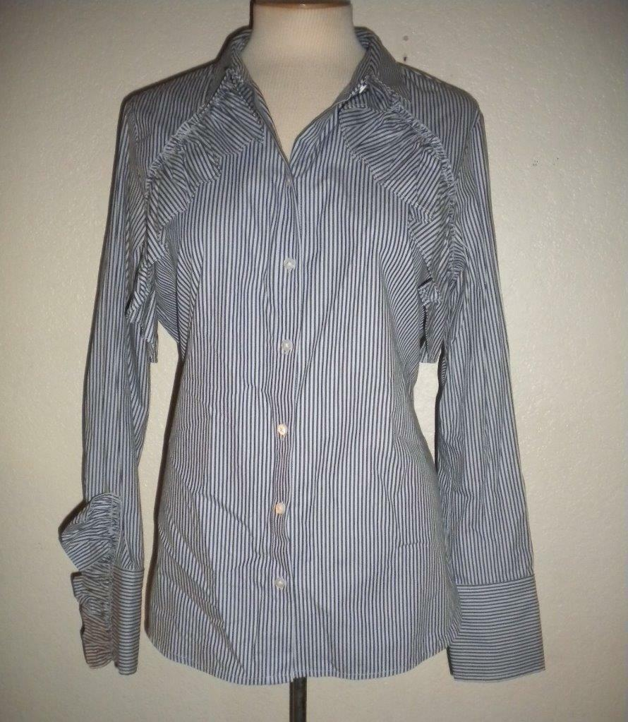 KENNETH COLE NEW YORK MS SIZE X-LARGE INDIGO EVEN STRIPED RUFFLE DEATIL BLOUSE
