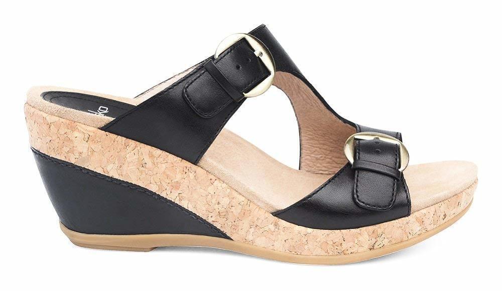 Dansko Femme Carla pleine fleur noir compensé sandale